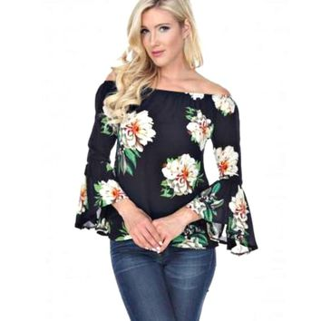 Southern Magnolia Bell Sleeve Floral Top