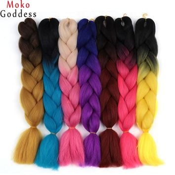 Ali MoKoGoddess Ombre Kanekalon Hair Two Tone Three Tone 24 Inch Synthetic Hair Extensions 100g/pack 60 Colors To Choose