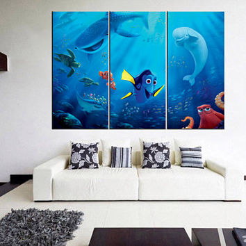 nursery wall art, finding nemo, finding nemo canvas, disney canvas print, disney art,  extra large canvas art, home decor canvas 12m01