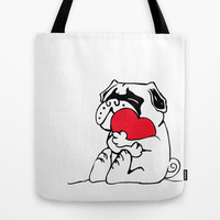 Pug Heart Tote Bag by Huebucket