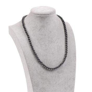 Black Magnetic Beads Hematite Necklace Health Care Lodestone Rosary Necklace Men Jewelry