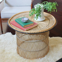Rattan Coffee Table End Table Indoor Patio Boho Beach Decor