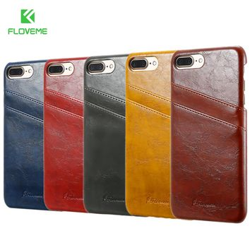 FLOVEME Card Holder Cover For iPhone 5 5s PU Leather Case For iPhone 7 7  Plus 67948a19f
