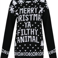 Unisex Mens Womens Merry Christmas' Slogan Xmas Novelty Crew Neck Jumper