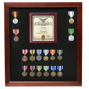 Military Certificate Medal Display Case Hand Made by Veterans