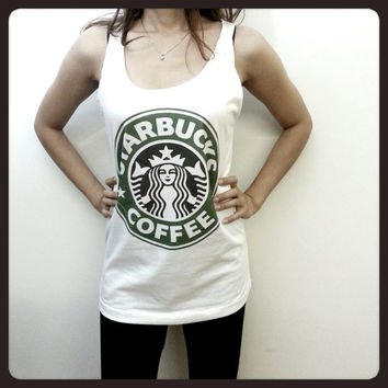 Starbucks Star Bucks Coffee Logo Brand Women Sleeveless Tank Top Tanktop Tshirt T Shirt