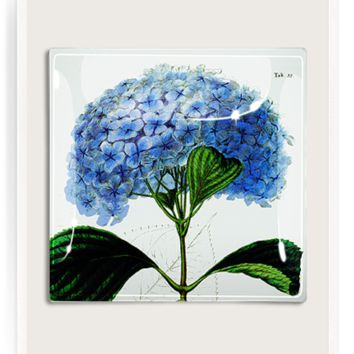 Blue Hydrangea Decoupage Glass Tray