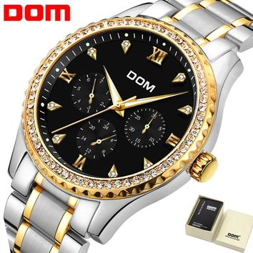 Stainless Steel Waterproof Mens Watch with 14k Gold and Diamonds