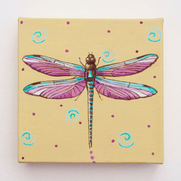 Dragonfly Mini Canvas Original Painting Handmade Coastal