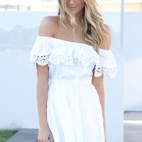 White Off the Shoulder Mini Dress with Lace Trim Detail