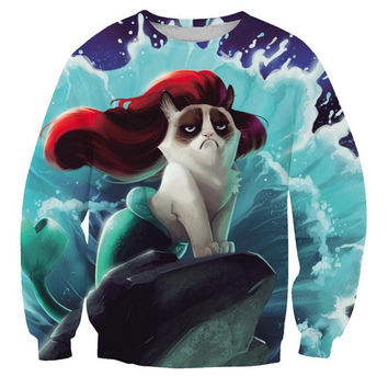 Little Grumpy Mermaid Cat Sweatshirt