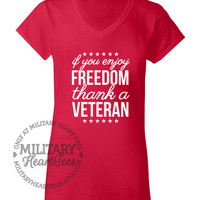 Thank a Veteran shirt, Army, Air Force, Marines, Navy, Military Wife, Fiance, Girlfriend, Sister Workout