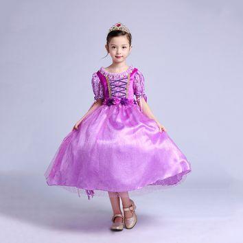 Princess Costume - Purple Short Sleeve Bubble Gown Skirt Rapunzel Dress - 👗💘👑🎃👠