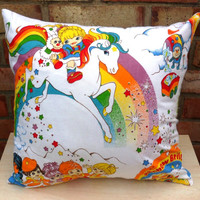 Rainbow Brite Vintage Fabric Cushion Selection - handmade by Alien Couture