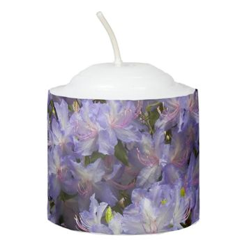 Purple Rhododendrons Flora Photo Votive Candle