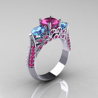 Classic 10K White Gold Three Stone Blue Topaz Pink by artmasters