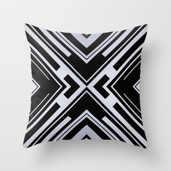 Black and White X Tribal Pattern Shapes Geometric Geometry Contrast II Throw Pillow by AEJ Design