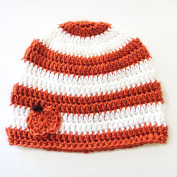 Baby Pumpkin Hat, Striped Hat, Crocheted Fall Hat