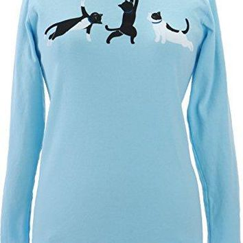Green 3 Kitty Cat Yoga Poses Long Sleeve Tee Light Blue  100 Organic Cotton Womens T Shirt Made in The USA