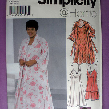 Plus Size Nightgown, Slip, Camisole, Tap Pants and Robe Women's / Women's Petite Size 18w, 20w, 22w, 24w Simplicity 8486 Sewing Pattern