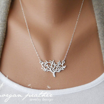 Dainty Tree Necklace in silver - delicate silver grey white tree pendant charm - suspended from sterling silver chain