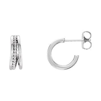 4.3 x 12mm (7/16 Inch) Sterling Silver Small Beaded J-Hoop Earrings