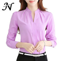 2016 Women Shirts Blouses Long Sleeve Stand Collar Elegant Ladies Chiffon Blouse Tops Fashion Office Work Wear Chemise Femme