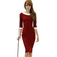 Nice-forever new dress Women Three Quarter Sleeve Fitted Formal Business Stretch Pinup Rockabilly Bodycon Pencil dress 450