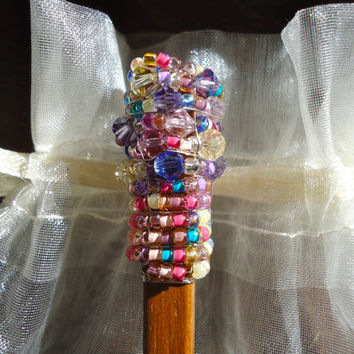 Swarovski crystal wooden hair stick, hair accessories, bohemian jewelry, wire wrapped jewelry, hair pins, valentines day gift, ready to ship