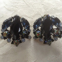 Judy Lee Earrings iridescent multi-color stones clip -ons blue rhinestones molded glass large marquis prongs silver metal vintage 1950 gift