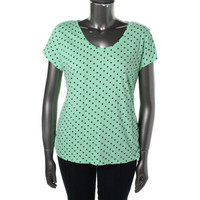 Style & Co. Womens The Essential Tee Polka Dot Short Sleeves T-Shirt