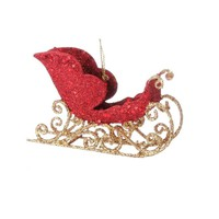 Timeless Trimmings Red And Gold Glittered Sleigh Ornament 3-in