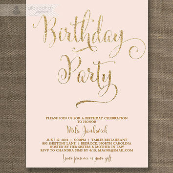 Blush Pink & Gold Birthday Invitation Gold Glitter Pastel Pink Script Modern Milestone Shabby Chic 21st Printable Digital or Printed - Mila
