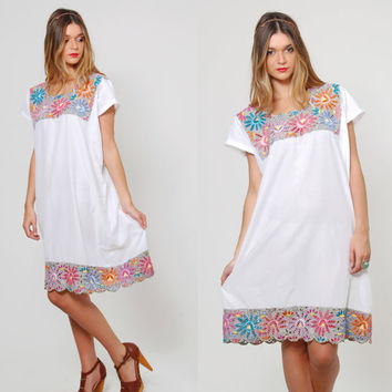 Vintage 70s MEXICAN Dress EMBROIDERED Floral Mini Dress Eyelet MESH Lace Dress Ethnic Tent Dress Boho Dress Summer Mini Dress