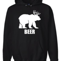 Beer Bear And Deer Animal Hoodie Sweatshirt Black - Men's / Women's
