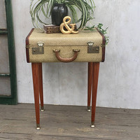 Vintage End Table or Night Stand Made From a Vintage Suitcase, Vintage Wedding Luggage, Vintage Storage