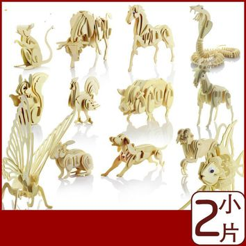 13 Kinds Of Peculiar Style New Selling Animal 3D Puzzle Wooden Simulation Model Educational Toys For Children