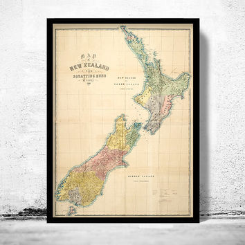 Old Map of New Zealand 1869