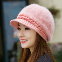 Rabbit Fur Pattern Knit Hat