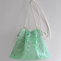Sally Green handbag/shoulder bag, pastel green small handbag