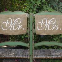 Burlap Wedding Chair signs  Mr and Mrs chair by butterflyabove