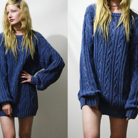 90s Vintage CABLE KNIT Sweater Jumper Blue Cotton Long Slouchy Oversized Chunky Grunge Knit Knitted 1990s vtg xs s m
