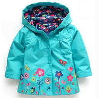 Kids Children Girls New Flower Hooded Wind Rain Jacket Baby Hooded Long Sleeve Windbreaker Floral Waterproof Jacket Outwear Coat