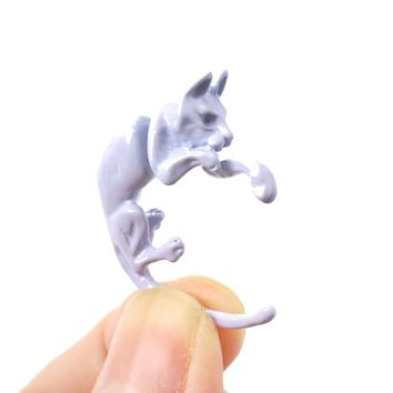Fake Gauge Earrings: Realistic Kitty Cat Pet Animal Shaped Plug Stud Earrings in Pale Purple