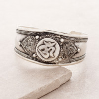 Antiqued Om Cuff