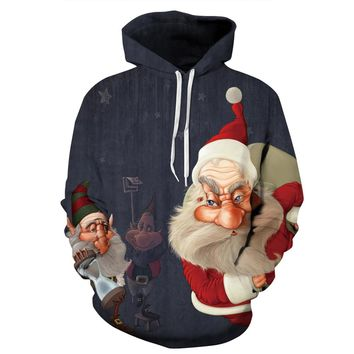 Father Christmas Skateboarding Hoodies Men Ugly Sweatshirts Outdoor New Year Hooded Tops Santa Claus Sportsuit Hoody Tracksuits