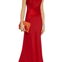 Jonathan Saunders Jacqualine satin-paneled crepe maxi dress – 68% at THE OUTNET.COM