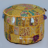"55"" Yellow Unique Patchwork Embroidered Round Indian Pouf Ottoman  on RoyalFurnish.com"