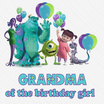 Monsters Inc Grandma of the Birthday Girl Printable Digital Iron On Transfer Clip Art DIY Tshirts Instant Download