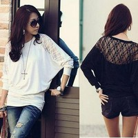 Sz S M L New Womens Loose Batwing Sleeve Lace Shoulder Casual Top T-Shirt blouse